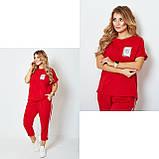 Жіночий спортивний прогулянковий костюм двійка футболка+штани двухнить на розмір: 42-44, 46-48, 50-52, фото 7