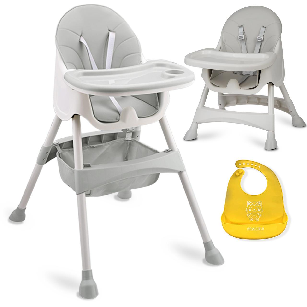 Высокий стул со столом Milo серый