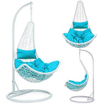 Подвесное кресло-качалка Cabana белый + синие подушки Марка Европы