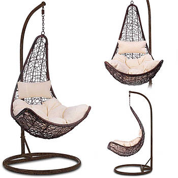 Подвесное садовое кресло Cabana коричневый + бежевые подушки Марка Европы