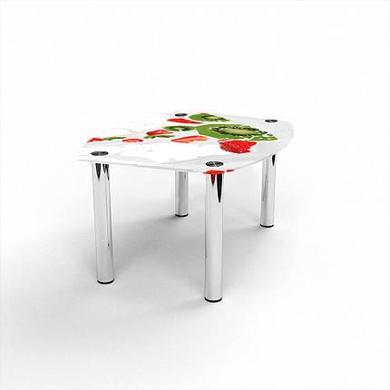 Стеклянный  стол журнальный столик из стекла БЦ Стол Бочка с фотопечатью Fruit&Milk, фото 2