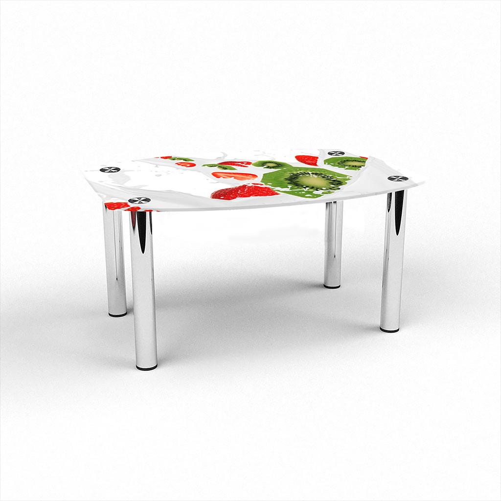 Стеклянный  стол журнальный столик из стекла БЦ Стол Бочка с фотопечатью Fruit&Milk