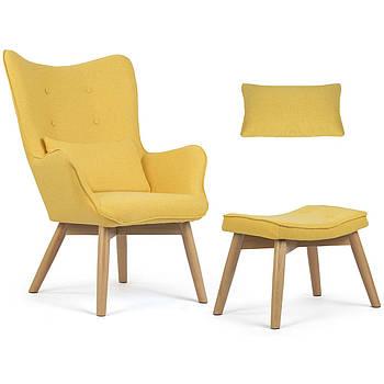 Норвежское желтое кресло с подголовником с подставкой для ног Марка Европы
