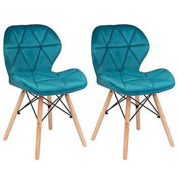Современное велюровое скандинавское кресло Sofotel Sigma - голубой 2 шт. Марка Европы