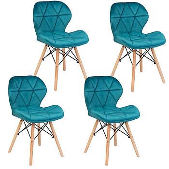 Современное велюровое скандинавское кресло Sofotel Sigma - голубой 4 шт. Марка Европы