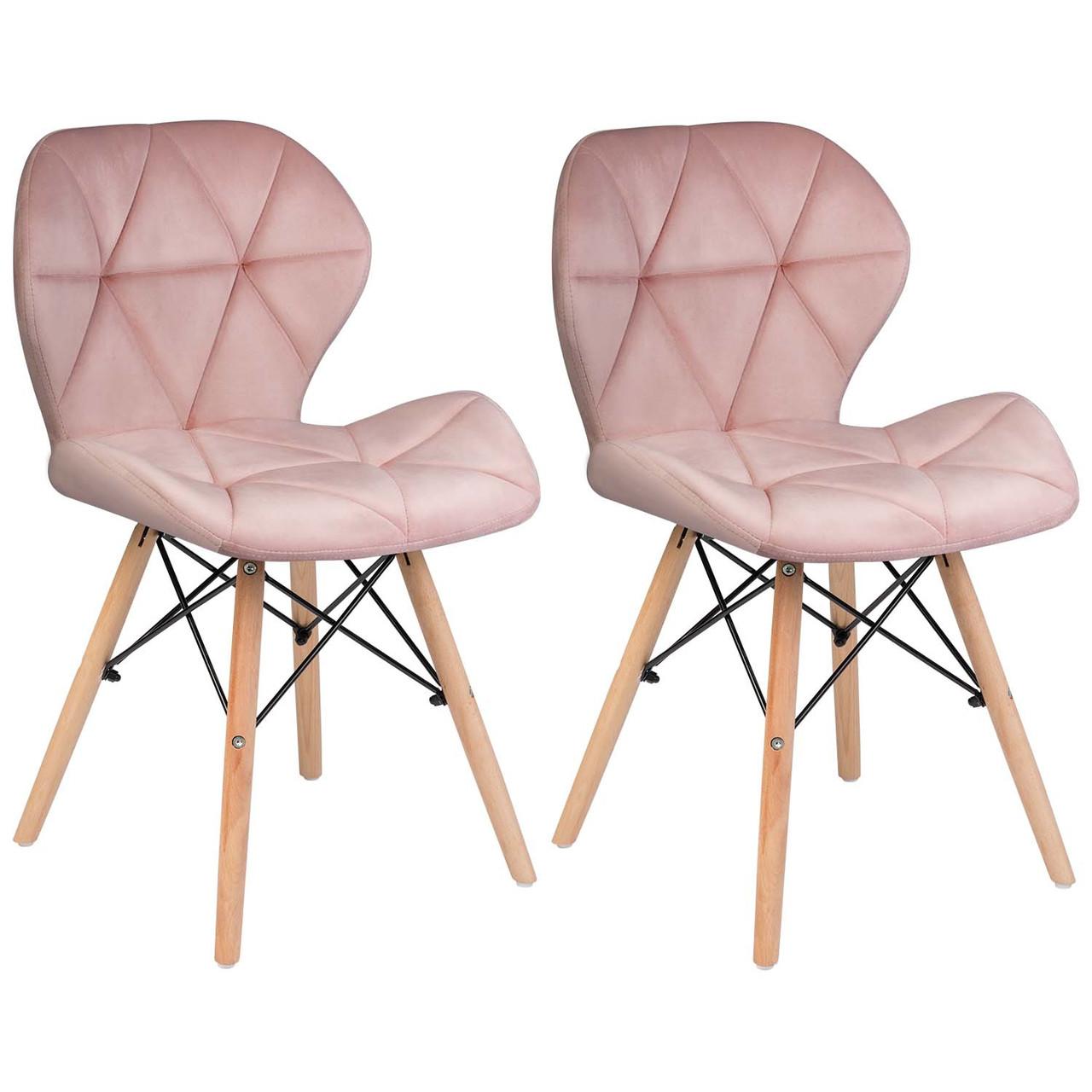 Сучасне велюрове скандинавське крісло Sofotel Sigma - рожеве 2 шт. Марка Європи