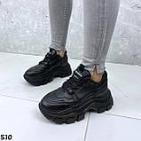 Кроссовки женские черные из эко кожи, фото 3