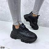 Кроссовки женские черные из эко кожи, фото 4