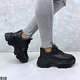 Кроссовки женские черные из эко кожи, фото 5