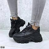 Кроссовки женские черные из эко кожи, фото 6