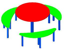Столик для детской площадки,шестиместный.
