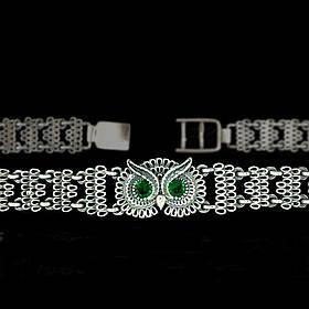 Серебряный женский браслет с фианитами 925 пробы  Сова
