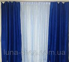 Комплект штор з тюлем Сузір'я, синій, жаккард+органза