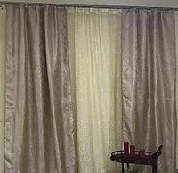 Комплект штор с тюлем Созвездие, кофейный,  жаккард+органза