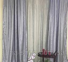 Комплект штор з тюлем Сузір'я, жаккард+органза, сірий