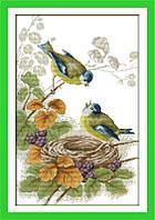Весенние птички D667 Набор для вышивки крестом с печатью на ткани 14ст