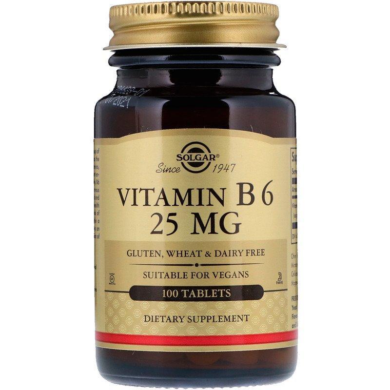 Вітаміни і мінерали Solgar Vitamin B6 25 мг (100 таб)