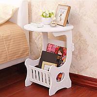 Круглый прикроватный столик с полкой для мелочей, белый 36х46 см, маленький столик в спальню