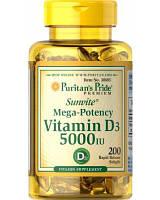 Вітамінно-мінеральний комплекс Puritan's Pride Vitamin D3 5000 МО (200 кап)