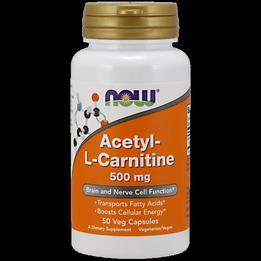 Л-карнітин NOW Acetyl L-Carnitine 500 мг (50 кап)