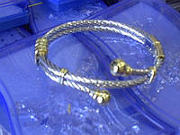 Браслет-кольцо стальканат (белое+желтое золото)