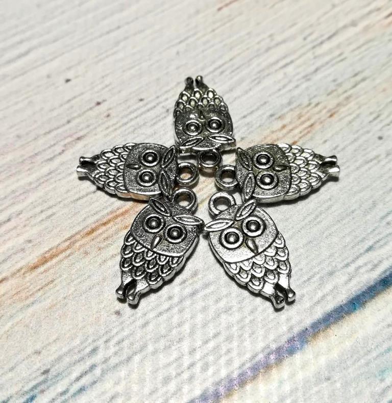 Подвеска Сова, Подвески для украшений Совы, размер 1,8*0,9мм, 1 уп - 5 шт \ Sf - 0-18225