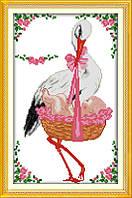 Розовый аист. Метрика. D668 Набор для вышивки крестом с печатью на ткани 14ст