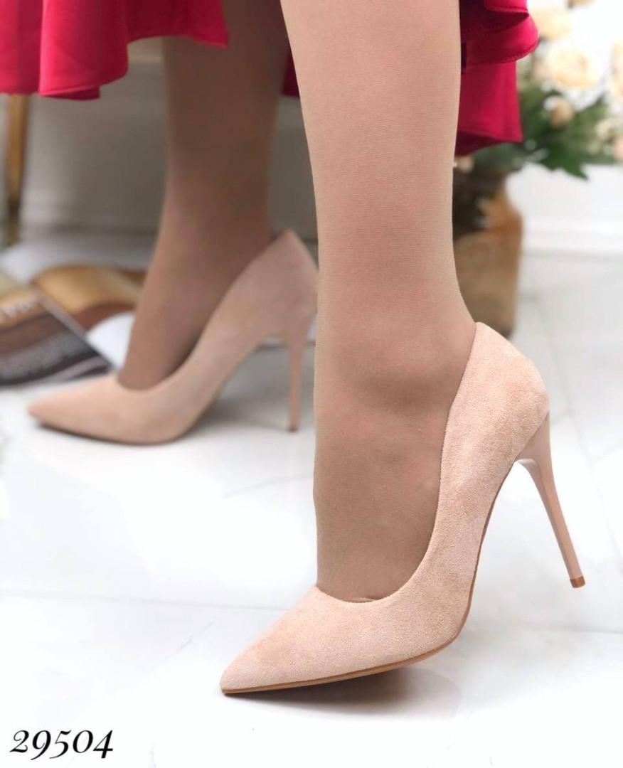 Женские туфли на каблуке замшевые
