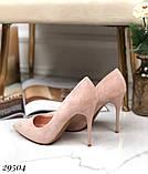 Женские туфли на каблуке замшевые, фото 3