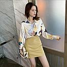 Свободная тонкая объемная шелковая блузка с длинным рукавом, фото 2