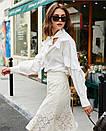 Стильная блузка с рюшами и бантом на шее белая, фото 2