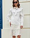 Стильная блузка с рюшами и бантом на шее белая, фото 3