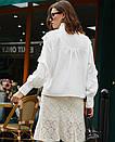 Стильная блузка с рюшами и бантом на шее белая, фото 4