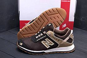 Мужские кожаные коричневые кроссовки new balance