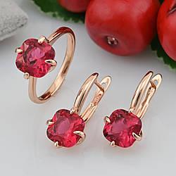 Набор Xuping 30388 кольцо + серьги 21х9 мм малиновые фианиты позолота РО размер 17