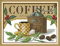 Кофейный натюрморт. Набор для вышивки крестом с печатью на ткани 14ст
