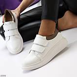 Всегда модные белые женские кроссовки кеды на липучках натуральная кожа флотар, фото 2