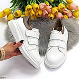 Всегда модные белые женские кроссовки кеды на липучках натуральная кожа флотар, фото 5