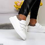 Всегда модные белые женские кроссовки кеды на липучках натуральная кожа флотар, фото 6