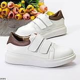 Всегда модные белые женские кроссовки кеды на липучках натуральная кожа флотар, фото 7