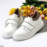 Всегда модные белые женские кроссовки кеды на липучках натуральная кожа флотар, фото 8