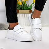 Всегда модные белые женские кроссовки кеды на липучках натуральная кожа флотар, фото 9