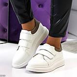 Всегда модные белые женские кроссовки кеды на липучках натуральная кожа флотар, фото 10