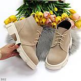Бежевые женские ботинки гриндерсы из натуральной замши на низком ходу, фото 5