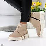 Бежевые женские ботинки гриндерсы из натуральной замши на низком ходу, фото 10