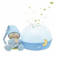 Дитячий Музичний Нічник-Проектор Перші мрії з м'якою іграшкою Чоловічком First Dreams Chicco, блакитний