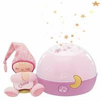 Дитячий Музичний Нічник-Проектор Перші мрії з м'якою іграшкою Чоловічком First Dreams Chicco, рожевий
