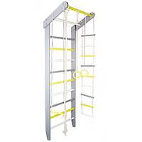 Спортивний Гімнастичний Шведська стінка з сосни для будинку або спортзалу, до 120кг, сіро-жовта 80х55х230см, фото 1