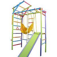 Спортивний складаний модульний Гімнастичний Куточок з бука: Шведська стінка, рукохід для дому, залу, кольоровий, фото 1