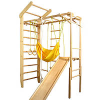 Спортивный складной деревянный Гимнастический Уголок: Шведская стенка, горка, рукоход, для дома или спортзала, фото 1